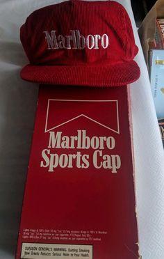 ca7977eb22c Vintage Marlboro Cigarettes Sports Cap Red Corduroy Snapback Trucker Hat   fashion  clothing  shoes