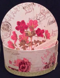 Just in! Elegant Pink Rose Floral Round Shabby Chic French Country Organizer Hat Box 13""