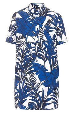 Topshop 'Blue Leaf' Short Sleeve Shirtdress | Nordstrom