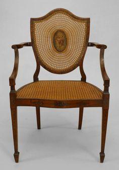 English Sheraton/Hepplewhite seating chair/arm chair-pair satinwood