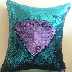 10.13$  Watch now - http://dibcw.justgood.pw/go.php?t=189113301 - Creative DIY Pattern Purple Blue Two Tone Sequins Pillow Case 10.13$