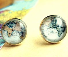 Retro Space, Globetrotter, Vintage World Map Stud Earrings - Free Shipping - Made to order :). $16.00, via Etsy.