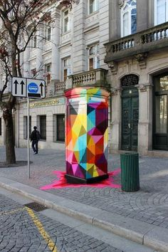 rainbow phone box landed in the street! cool