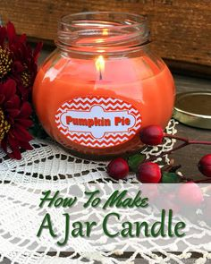 DIY Pumpkin Pie Jar Candle - Great idea! I love crafts that also work as gifts for friends, neighbors and holiday hostesses.