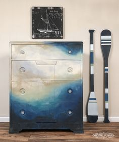 Outstanding watercolor dresser. Painted in Chalk Paint® by Annie Sloan in Paris Grey, Old Ochre, Versailles, Provence, Florence, Napoleonic Blue, Graphite, & Rustoleam Champagne Metallic. By Originally Worn