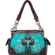 Concealed Carry Rhinestone Cross Handbag -Turquoise $42.95 http://www.sparklyexpressions.com/#1019