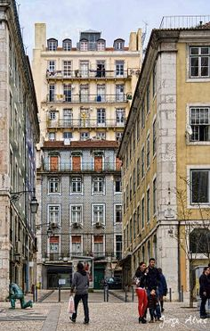 Alfama, old district traditional buildings - facing the Rio Tejo, Lisboa Portugal...