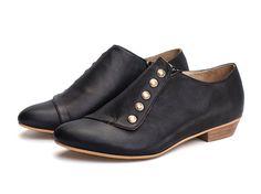 Grace Black Flats leather shoes by TamarShalem on Etsy