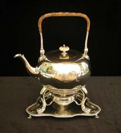 Silver tea kettle set by Paul Crespin and Frederick Kandler, 1745, engraved with the arms of the 1st Earl of Bristol