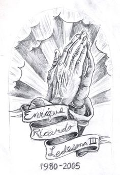 Memorial tattoo Praying Hands draft