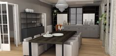 design garden room - new function diner and kitchen - 3d impression project monumental residence choc studio interior