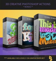 Creative Text & Shape Actions - Bundle by survivor Creative Text & Shapes Actions Collection of creative Photoshop Actions which works with texts, shapes and vecto Photoshop Shapes, Photoshop Text Effects, How To Use Photoshop, Creative Photoshop, Photoshop Design, Photoshop Actions, Photo Shape, 3d Text, 3d Typography