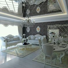 ☆✨☆ Luxury Living Room - ☆✨☆ Silver and white living room/dining room House Design, Luxury Living Room, Home, Luxury Dining Room, Luxury Living, House Interior, Home Interior Design, Elegant Interiors, Living Room Designs