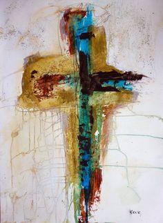 Cross Painting Cross Art Abstract Cross by ScriptureAndCrossArt