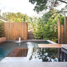 jardin moderne avec piscine et clôture bois de design épuré et élégant