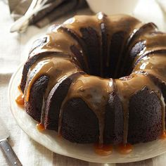 Boozy Baking: Our Bourbon-Chocolate Tipsy Cake gets its delectable flavor from chocolate and smooth, aged bourbon whiskey. More yummy cakes: http://www.bhg.com/recipes/desserts/cakes/fall-cake-recipes/