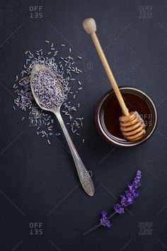 Studio shot of honey with lavender
