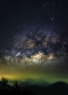 Milky Way over Erupting Volcano in Guatamala. APOD, April 13, 2015. See explanation. image credit & copyright: Sergio Montúfar.
