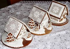These gingerbread houses was made my brother in Slovakia for his 4 childrens. He never makes cookies so I want to share what he is very good. Christmas Gingerbread House, Gingerbread Cookies, Christmas Cookies, Gingerbread Houses, Ginger Cookies, Fun Cookies, Almond Cookies, Chocolate Cookies, Christmas Baking