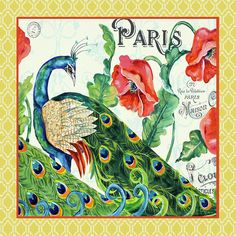 Peacocks In The Garden-paris-2 Painting