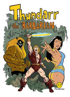THUNDARR the Barbarian; Princess ARIEL and OOKLA the Mook Created by Jack Kirby and Alex Toth (1980) Art by JJ Marreiro