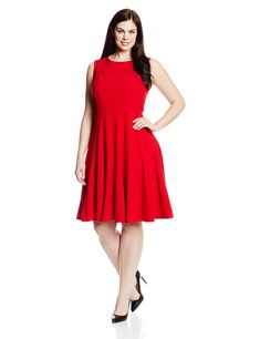 44fc58e42120 Wear To Work Dresses - Calvin Klein Women s Plus-Size Sleeveless Solid  Fit-and-Flare Dress at Women s Clothing store