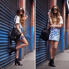 "Zara Jacket, The Kooples Top, American Apparel Shorts, Urban Outfitters Shoes, Markberg Bag & Bracelets //""Look #200!"" by Anouska Proetta Brandon // LOOKBOOK.nu"