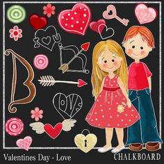 Chalkboard Clipart Love and Valentines Day  by DigitalPaperCraft