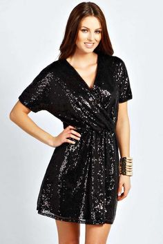 Boohoo Alice Sequin Wrap Over Dress on shopstyle.com