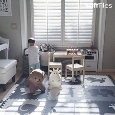 Use our SoftTiles Safari Black, Gray, White set for fun monochromatic colored playrooms! This is our 9 Piece set with sloped borders.