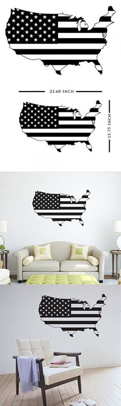 USA Flag Wall Decal | Peel and Stick Premium Patriotic America Flag Map Wall Art for Home Decor by Dekosh