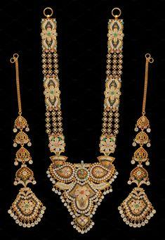 Ramnavami Necklace by Kailash Kumar on Rajputi Dress, Gold Jewelry, Jewellery, Indian Jewelry, Fashion Beauty, Jewelry Design, Bangles, Jewels, Creative