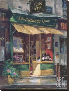 Montmarte Wine Shop Stretched Canvas Print by George Botich at Art.com