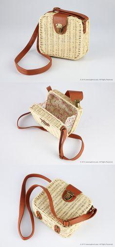 Tan Rattan Crossbody Bag - www.euphoric.asia/tan-rattan-crossbody-bag
