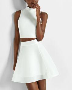 ivory high waisted bonded mesh full flare skirt