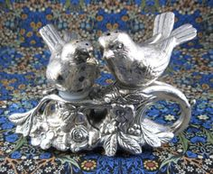 Silver Birds On Branch Salt And Pepper Shakers 1960s Bird