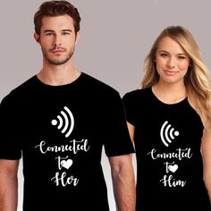 Couple T-Shirt Connected To Her Him T-Shirt Casual Hipster Short Sleeve Women'S T-Shirt Streetwear Tee Shirtt For Lovers Cute Couple Shirts, Couple Tees, Matching Couple Shirts, Matching Couples, Couple T Shirt Design, Dashiki For Men, Couple Outfits, Vintage Design, Funny Tshirts