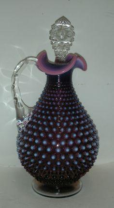 RARE Vintage Fenton Glass Plum Purple Amethyst Opalescent Hobnail Decanter