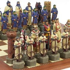 Massive 6 3/4in. tall beautifully hand painted, Crusades chess set pieces.