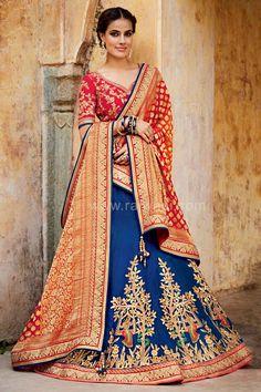 We have special collection of designer wedding lehenga choli. Buy this prodigious tussar silk blue lehenga choli for sangeet and wedding. Blue Lehenga, Red Saree, Silk Lehenga, Pakistani Dresses, Indian Dresses, Indian Outfits, Diya Fashion, Indian Fashion, Fashion Women