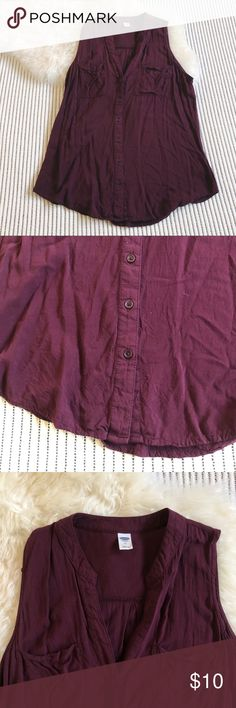 Burgundy Maroon Button V-Neck Tank Previously loved but still in good condition. Gorgeous flowy button-down tank from Old Navy. Wine-colored. Old Navy Tops Tank Tops
