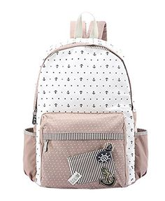 Fansela(TM) Girl's Harajuku Style Cute Canvas Backpack Book Bag Pink