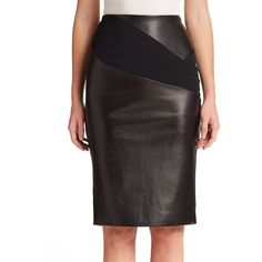 Roland Mouret Lynx Leather & Jersey Pencil Skirt
