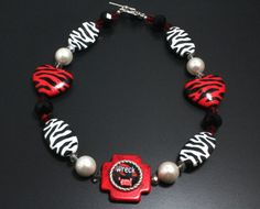 Texas Tech Chunky Necklace Wreck em Red by NancysCrystalFantasy