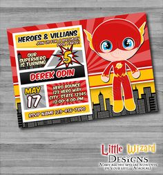 The Flash Birthday Invitation inspired by by LittleWizardDesigns