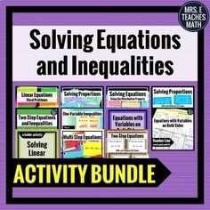 These activities are perfect for algebra students to practice solving equations and inequalities! One Step Equations, Algebra Equations, Solving Equations, Math Lesson Plans, Math Lessons, Math Teacher, Teaching Math, Class Notes, Word Problems