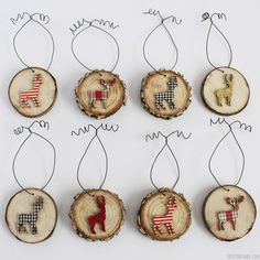Wood slice ornaments add the perfect touch to your Rustic Christmas theme, especially if you decorate them with deer and Rudolph The Red Nosed Reindeer!