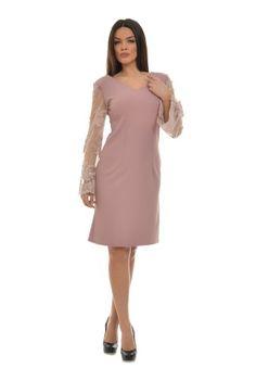 Rochie nude cu dantela CSF-212-N -  Ama Fashion Cold Shoulder Dress, Dresses For Work, Nude, Fashion, Moda, Fashion Styles, Fashion Illustrations, Fashion Models