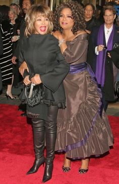 Tina Turner Photos: Opening Night of The Color Purple with Oprah Winfrey Beautiful Black Women, Amazing Women, Beautiful People, Tina Turner, Oprah Winfrey, Mississippi, Famous Black, African American Women, African Beauty