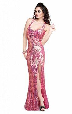 Passat Womens High Slit Luxury Sequin Mermaid Quinceanera Dresses